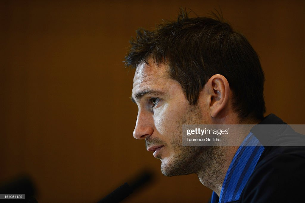 <a gi-track='captionPersonalityLinkClicked' href=/galleries/search?phrase=Frank+Lampard+-+Born+1978&family=editorial&specificpeople=11497645 ng-click='$event.stopPropagation()'>Frank Lampard</a> of England speaks to the media during a Press Conference at St Georges Park on March 19, 2013 in Burton-upon-Trent, England.
