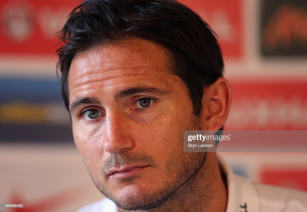 <a gi-track='captionPersonalityLinkClicked' href=/galleries/search?phrase=Frank+Lampard+-+Born+1978&family=editorial&specificpeople=11497645 ng-click='$event.stopPropagation()'>Frank Lampard</a> of England talks to the media during an England Press Conference at The Grove Hotel on September 8, 2013 in Hertford, England.