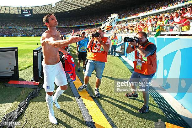 Frank Lampard of England throws a boot into the crowd after a 00 draw during the 2014 FIFA World Cup Brazil Group D match between Costa Rica and...