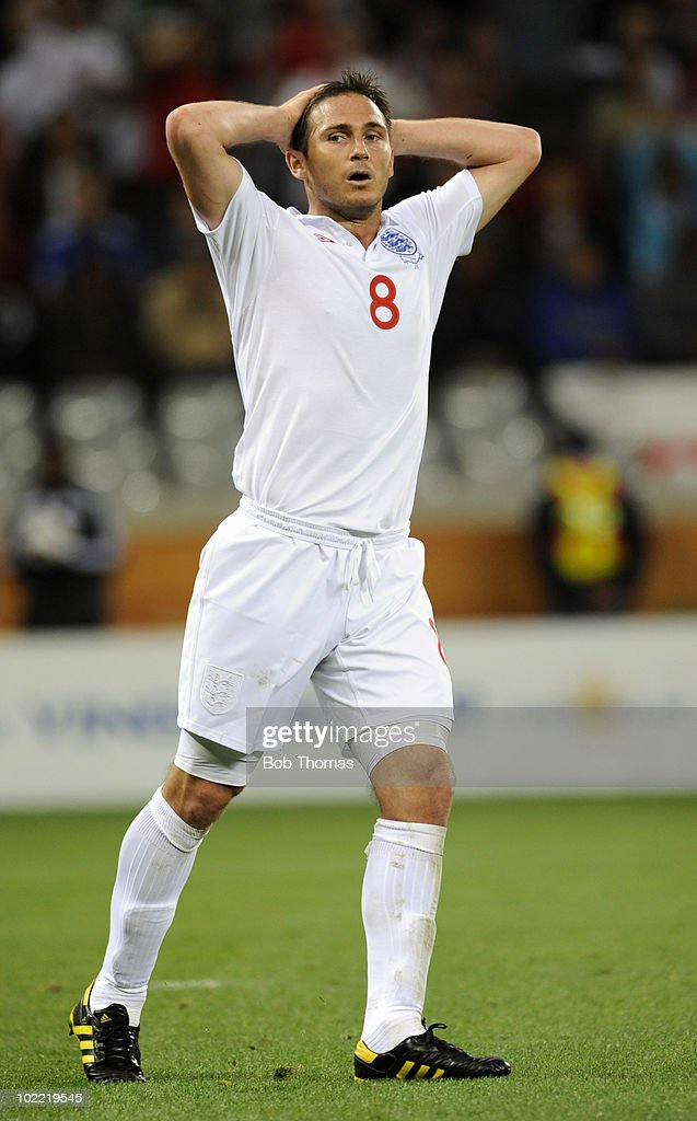 Frank Lampard of England with his hands on his head during the 2010 FIFA World Cup South Africa Group C match between England and Algeria at Green Point Stadium on June 18, 2010 in Cape Town, South Africa. The match was drawn 0-0.