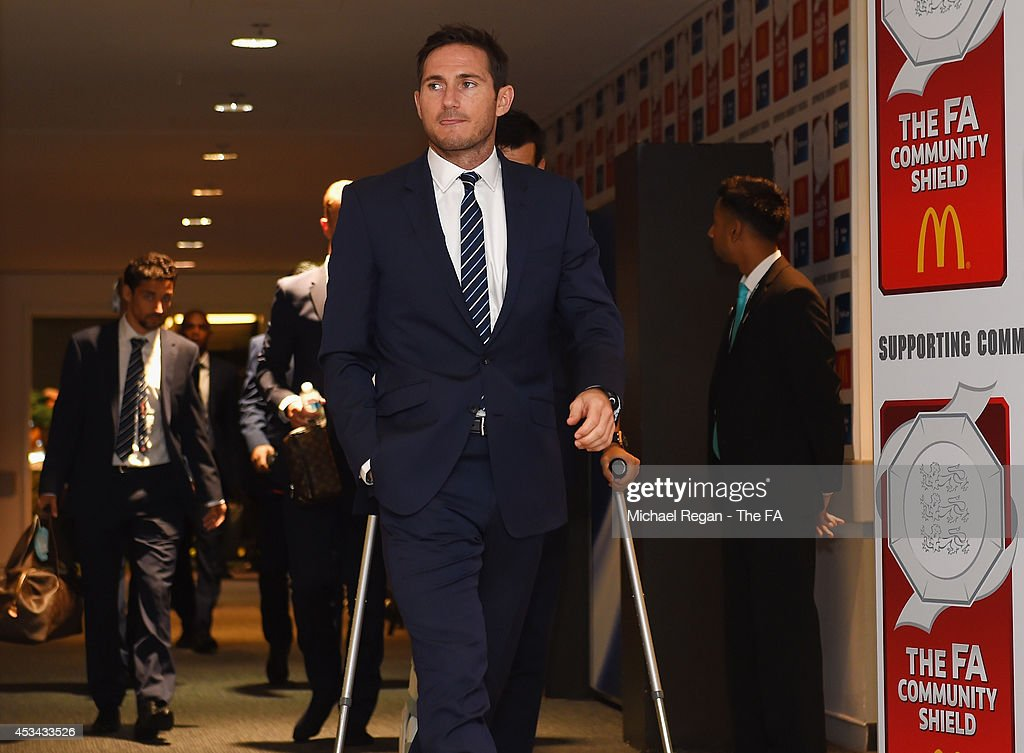 Frank Lampard of Manchester City arrives ahead of the FA Community Shield match between Manchester City and Arsenal at Wembley Stadium on August 10...