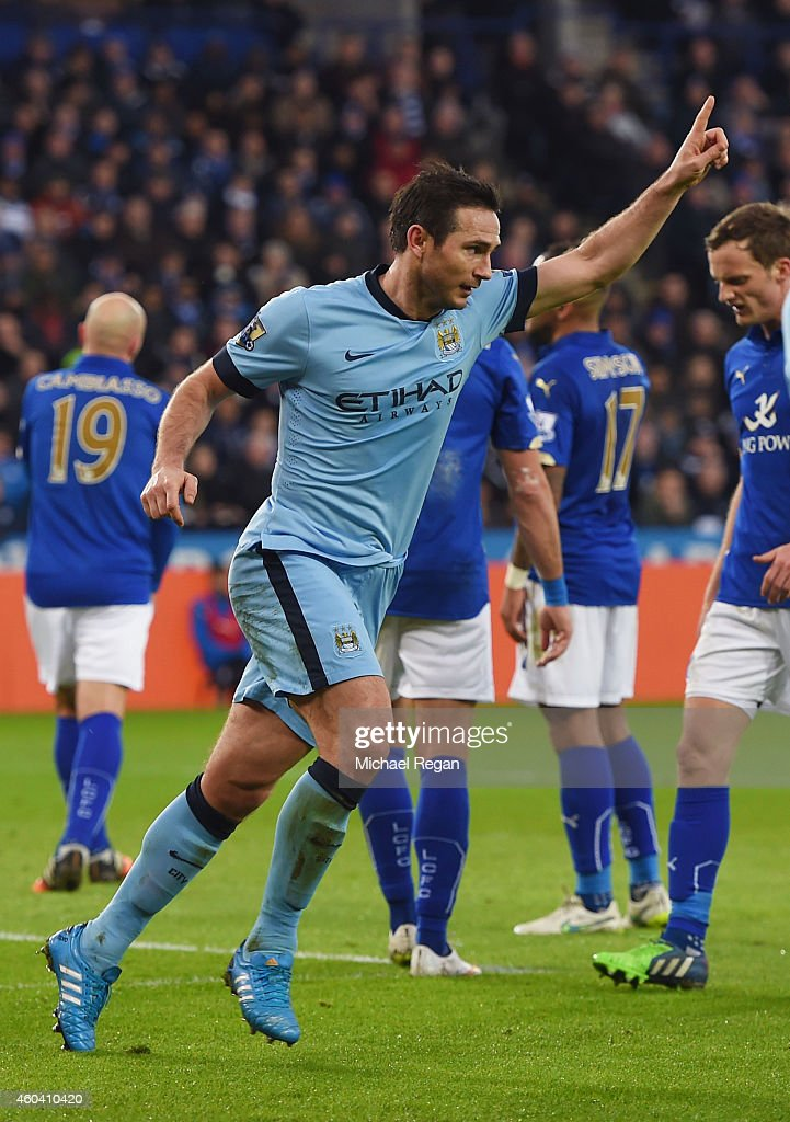 Frank Lampard of Manchester City celebrates after scoring the opening goal during the Barclays Premier League match between Leicester City and...
