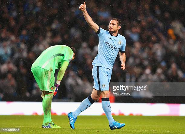 Frank Lampard of Manchester City celebrates his team's third goal during the Barclays Premier League match between Manchester City and Sunderland at...
