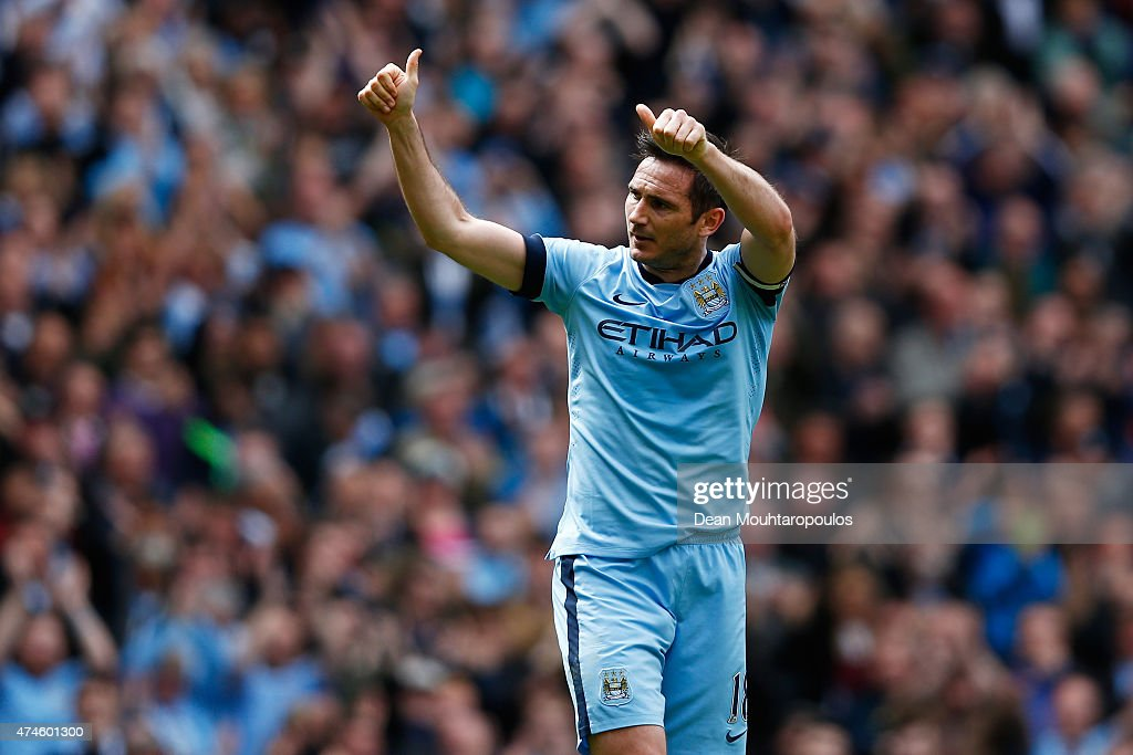 Frank Lampard of Manchester City celebrates scoring his team's first goal during the Barclays Premier League match between Manchester City and Southampton at Etihad Stadium on May 24, 2015 in Manchester, England.
