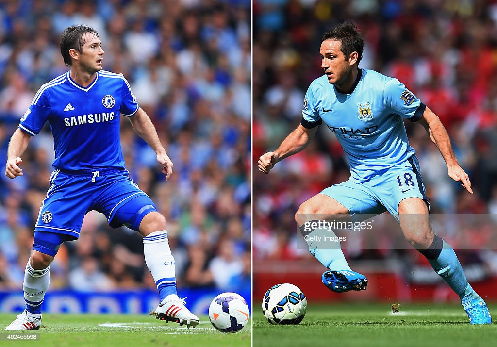 COMPOSITE OF TWO IMAGES Image numbers 176754855 and 455355776 In this composite image a comparision has been made between Frank Lampard playing for...