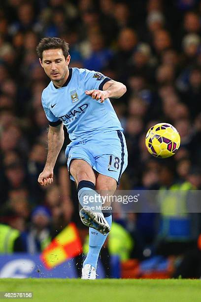 Frank Lampard of Manchester City on the ball during the Barclays Premier League match between Chelsea and Manchester City at Stamford Bridge on...