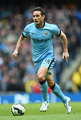 Frank Lampard of Manchester City runs with the ball during the Barclays Premier League match between Manchester City and Southampton at Etihad...