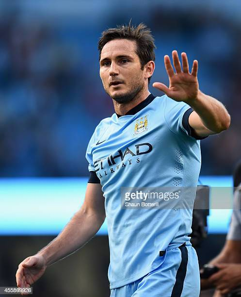 Frank Lampard of Manchester City salutes the Chelsea fans at the end of the Barclays Premier League match between Manchester City and Chelsea at the...