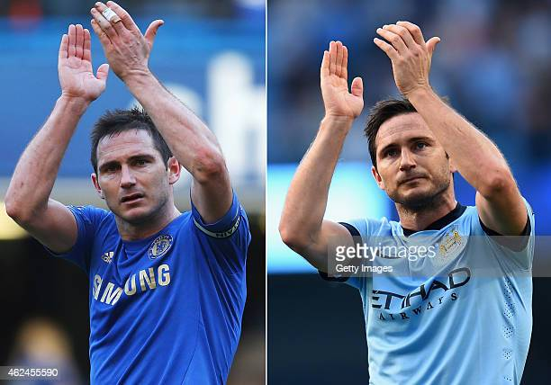 COMPOSITE OF TWO IMAGES Image numbers 162960114 and 455869624 In this composite image a comparision has been made between Frank Lampard playing for...