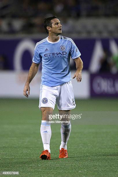 Frank Lampard of New York City FC watches a replay on the scoreboard screen during a MLS soccer match between New York City FC and the Orlando City...