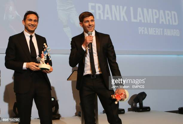 Frank Lampard on stage with Steven Gerrard as they both collect PFA Merit Awards during the PFA Player of the Year Awards 2015 at the Grosvenor House...