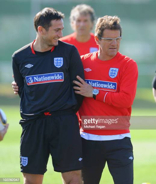 Frank Lampard shares a joke with England manager Fabio Capello during the England training session at the Royal Bafokeng Sports Campus on June 21...