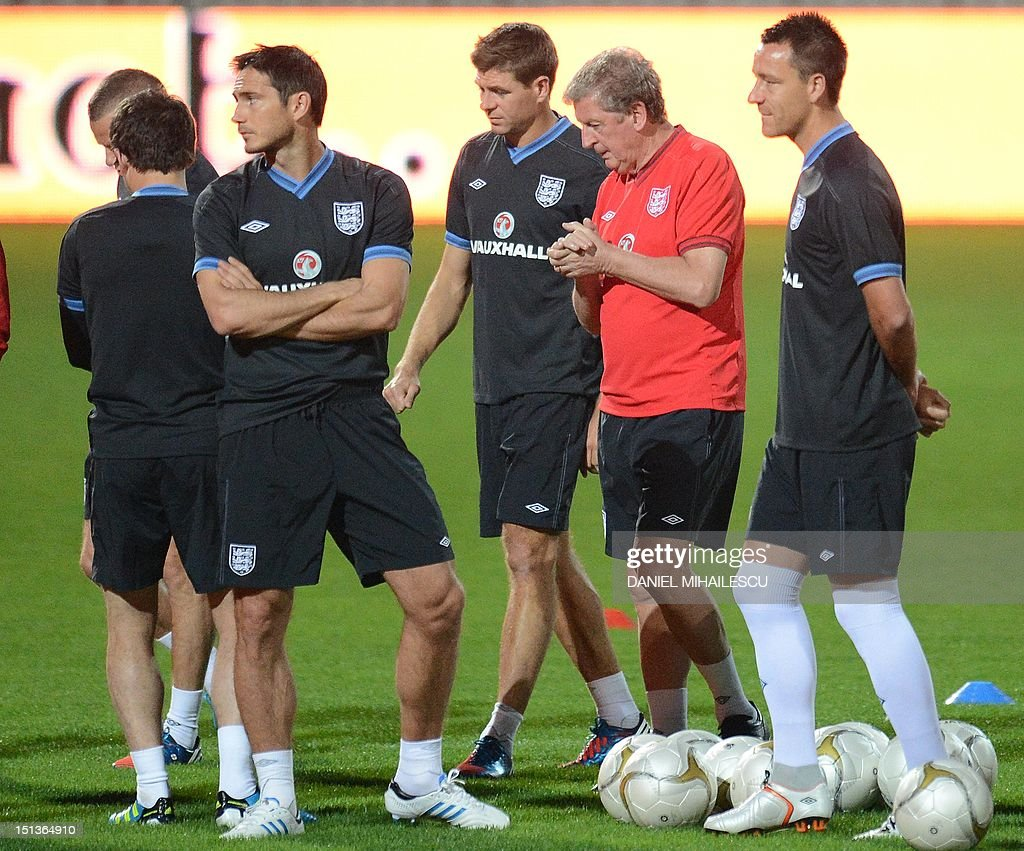 Frank Lampard, Steven Gerrard, Coach Roy Hodgson and John Terry take part in an official training session one day ahead of World Cup 2014 qualifier match against Moldova in Chisinau city September 6, 2012.