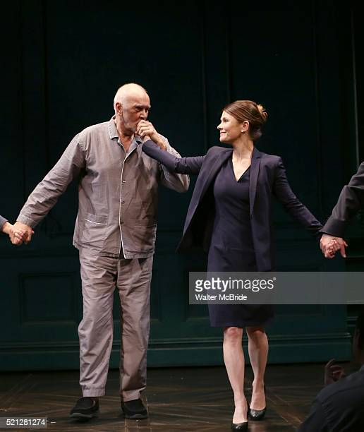 Frank Langella and Kathryn Erbe during the Opening Night Curtain Call bows for 'The Father' at The Samuel J Friedman Theatre on April 14 2016 in New...