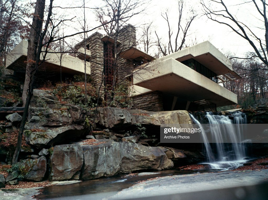 Frank Lloyd Wright's Fallingwater House (also known as the Edgar J. Kaufmann Sr. Residence) in Bear Run, Pennsylvania, 1970s.