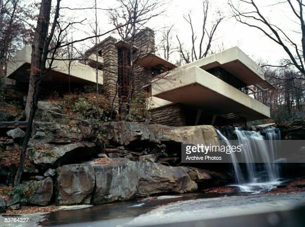 Frank Lloyd Wright's Fallingwater House in Bear Run Pennsylvania 1970s