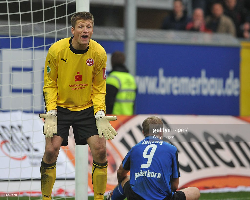 Frank Loening of Paderborn and Michael Melka of Duesseldorf during the 3 Liga match between SC Paderborn and Fortuna Duesseldorf at the Paragon Arena...