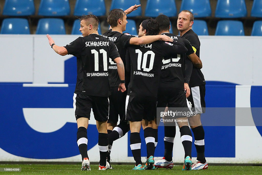 Frank Loesing of Sandhausen celebrates the first goal with his team mates during the Second Bundesliga match betweeen VfL Bochum and SV Sandhausen at...