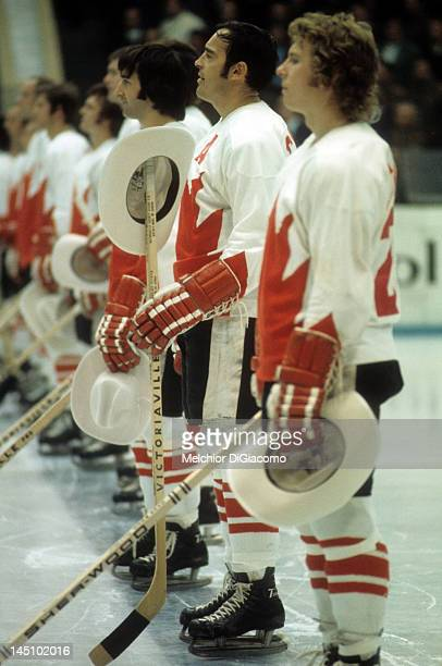 Frank Mahovlich and Bobby Clarke of Canada stands on the ice before the game against the Soviet Union in the 1972 Summit Series on September 22 1972...