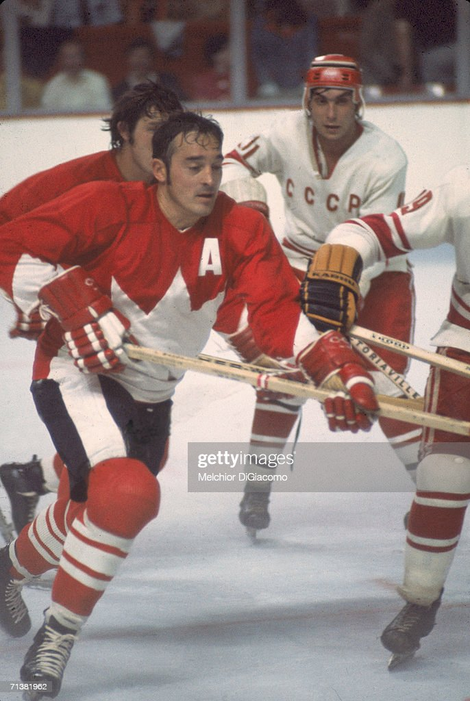 Frank Mahovlich of Canada skates on the ice during Game 1 of the 1972 Summit Series against the Soviet Union on September 2 1972 at the Montreal...