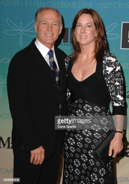Frank Marshall and Kathleen Kennedy during 2007 Women In Film Crystal Lucy Awards Arrivals at Beverly Hilton in Beverly Hills California United States