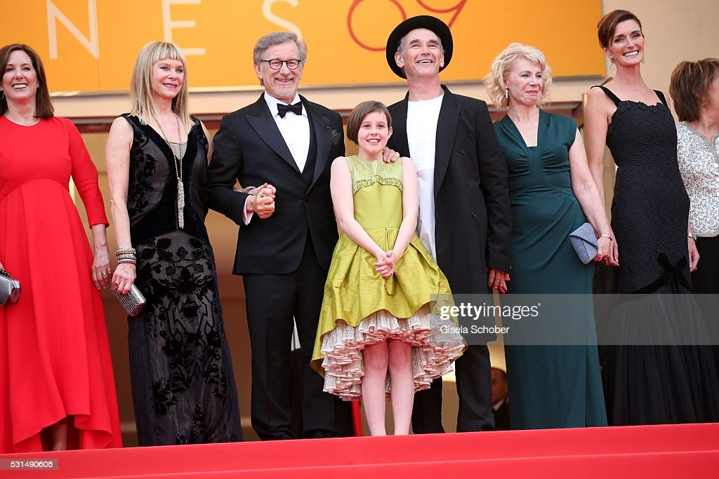 Frank Marshall, Kathleen Kennedy, Kate Capshaw, Steven Spielberg, Ruby Barnhill, Mark Rylance, Claire van Kampen and Lucy Dahl attend 'The BFG (Le Bon Gros Geant - Le BGG)' premiere during the 69th annual Cannes Film Festival at the Palais des Festivals on May 14, 2016 in Cannes, France.