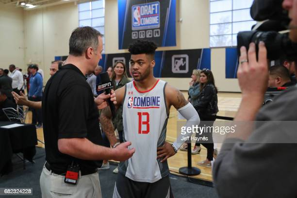 Frank Mason III is interviewed by Jeff Goodman during the NBA Draft Combine at the Quest Multisport Center on May 11 2017 in Chicago Illinois NOTE TO...
