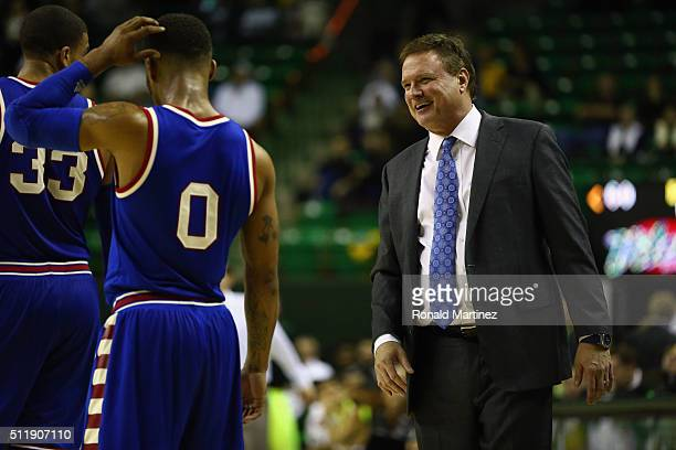 Frank Mason III of the Kansas Jayhawks and Bill Self during the second half at Ferrell Center on February 23 2016 in Waco Texas