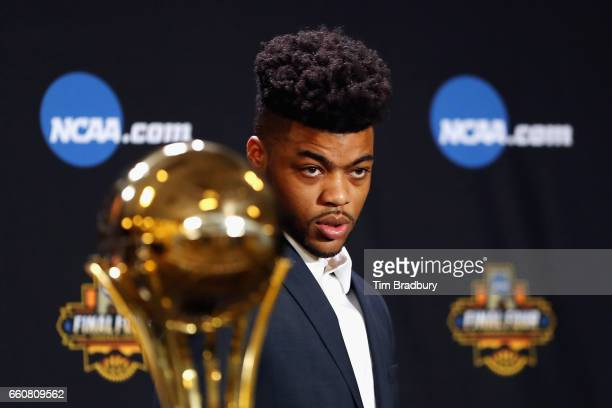 Frank Mason III of the Kansas Jayhawks attends a press conference after being named the Associated Press Player of the Year prior to the 2017 NCAA...