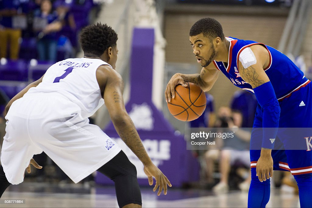 <a gi-track='captionPersonalityLinkClicked' href=/galleries/search?phrase=Frank+Mason+III&family=editorial&specificpeople=13735967 ng-click='$event.stopPropagation()'>Frank Mason III</a> #0 of the Kansas Jayhawks brings the ball up court against Chauncey Collins #1 of the TCU Horned Frogs on February 6, 2016 at the Ed and Rae Schollmaier Arena in Fort Worth, Texas.