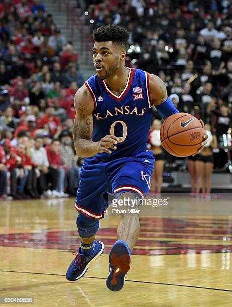 Frank Mason III of the Kansas Jayhawks drives against the UNLV Rebels during their game at the Thomas Mack Center on December 22 2016 in Las Vegas...