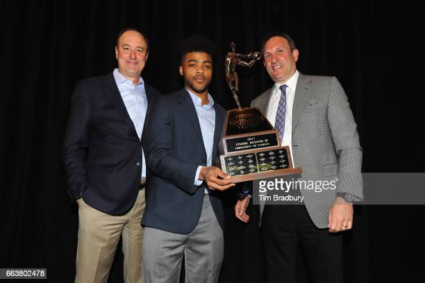 Frank Mason III of the Kansas Jayhawks is presented with the 2017 Naismith Player of the Year Award during the 2017 Naismith Awards Brunch at the...