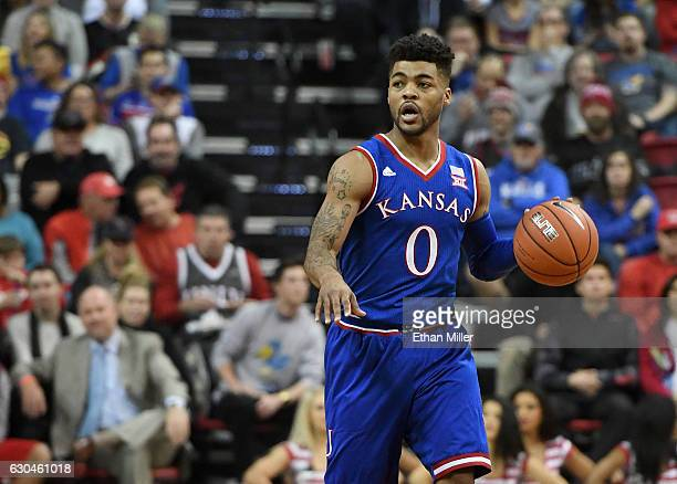 Frank Mason III of the Kansas Jayhawks sets up a play against the UNLV Rebels during their game at the Thomas Mack Center on December 22 2016 in Las...