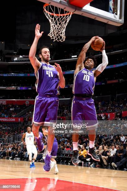 Frank Mason III of the Sacramento Kings grabs the rebound against the LA Clippers on October 12 2017 at STAPLES Center in Los Angeles California NOTE...