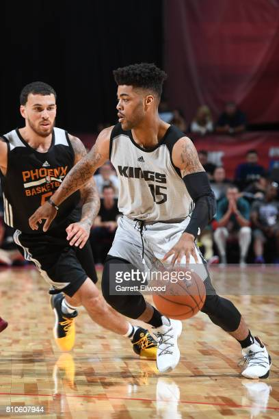 Frank Mason III of the Sacramento Kings handles the ball against the Phoenix Suns on July 7 2017 at the Thomas Mack Center in Las Vegas Nevada NOTE...