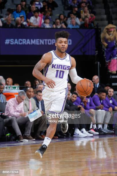 Frank Mason III of the Sacramento Kings handles the ball against the Portland Trail Blazers during a preseason game on October 9 2017 at ORACLE Arena...