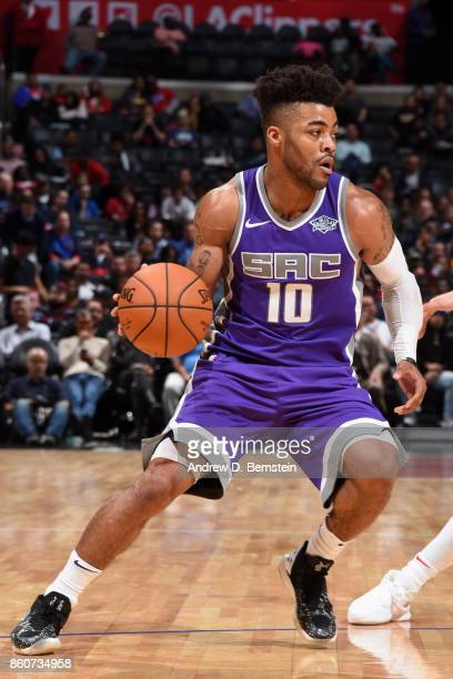 Frank Mason III of the Sacramento Kings handles the ball against the LA Clippers on October 12 2017 at STAPLES Center in Los Angeles California NOTE...