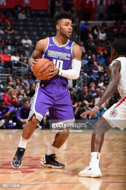 Frank Mason III of the Sacramento Kings handles the ball against the LA Clipperson October 12 2017 at STAPLES Center in Los Angeles California NOTE...