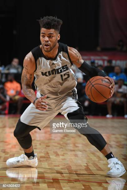 Frank Mason III of the Sacramento Kings handles the ball during the game against the Los Angeles Lakers on July 10 2017 at the Thomas Mack Center in...