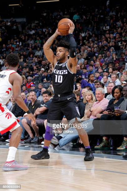 Frank Mason III of the Sacramento Kings handles the ball during the game Toronto Raptors on December 10 2017 at Golden 1 Center in Sacramento...