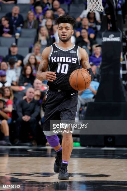 Frank Mason III of the Sacramento Kings handles the ball during the game against the Toronto Raptors on December 10 2017 at Golden 1 Center in...