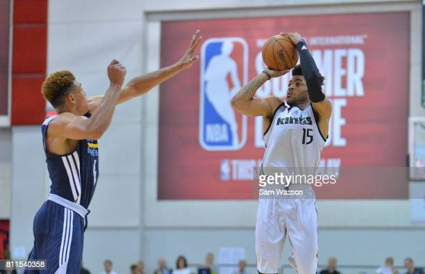 Frank Mason III of the Sacramento Kings shoots against Wade Baldwin IV of the Memphis Grizzlies during the 2017 NBA Summer League game at the Cox...