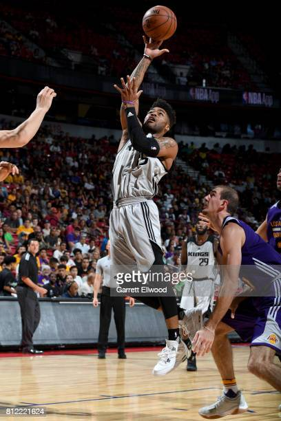 Frank Mason III of the Sacramento Kings shoots the ball against the Los Angeles Lakers on July 10 2017 at the Thomas Mack Center in Las Vegas Nevada...