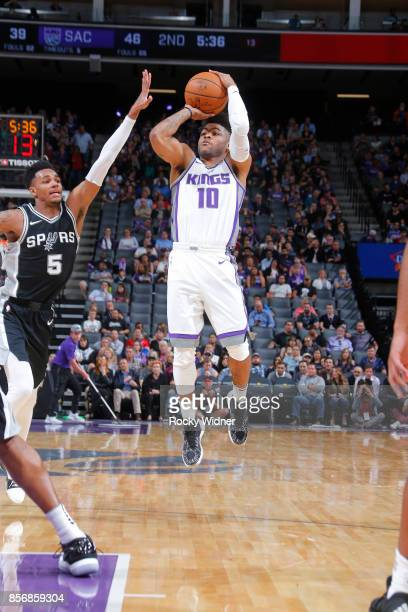 Frank Mason III of the Sacramento Kings shoots the ball against the San Antonio Spurs during the preseason game on October 2 2017 at Golden 1 Center...