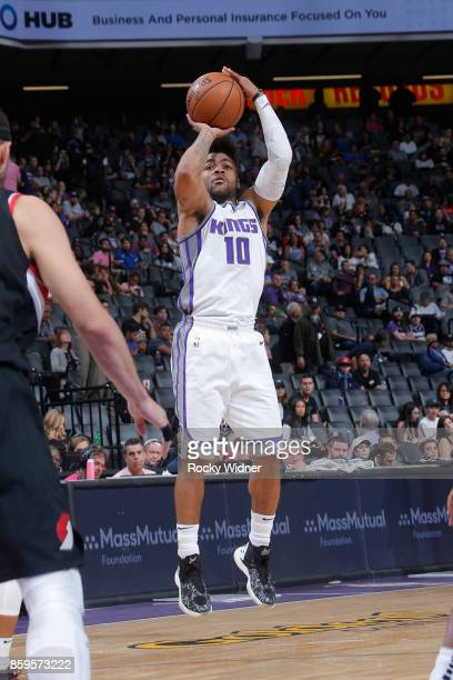 Frank Mason III of the Sacramento Kings shoots the ball against the Portland Trail Blazers during a preseason game on October 9 2017 at ORACLE Arena...