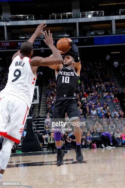 Frank Mason III of the Sacramento Kings shoots the ball during the game Toronto Raptors on December 10 2017 at Golden 1 Center in Sacramento...