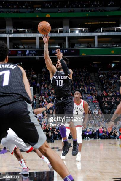 Frank Mason III of the Sacramento Kings shoots the ball during the game against the Toronto Raptors on December 10 2017 at Golden 1 Center in...