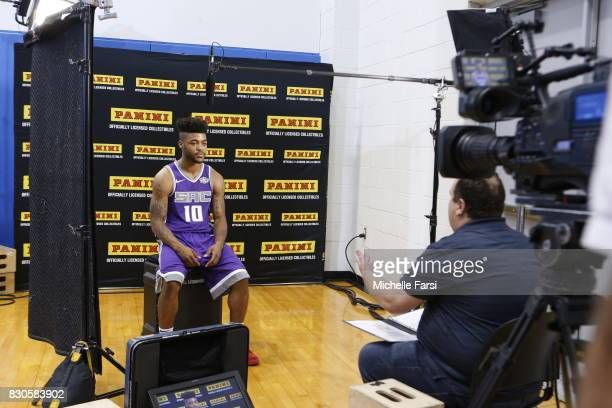 Frank Mason of the Sacramento Kings behind the scenes during the 2017 NBA Rookie Photo Shoot at MSG training center on August 11 2017 in Tarrytown...