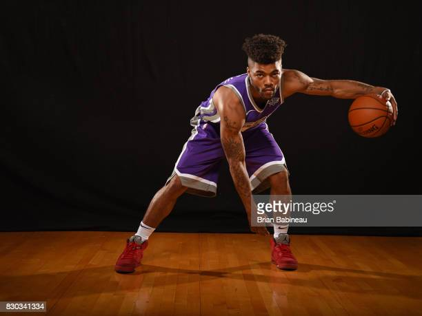 Frank Mason of the Sacramento Kings poses for a photo during the 2017 NBA Rookie Photo Shoot at MSG training center on August 11 2017 in Tarrytown...