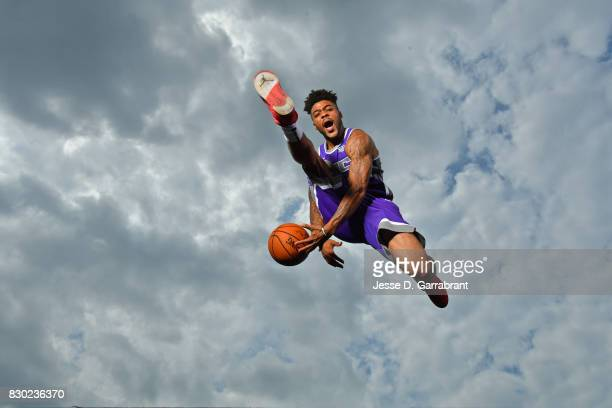Frank Mason of the Sacramento Kings poses for a portrait during the 2017 NBA rookie photo shoot on August 11 2017 at the Madison Square Garden...